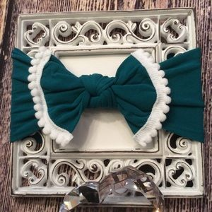 Other - Baby Girls Teal & White Knit Bow Headband